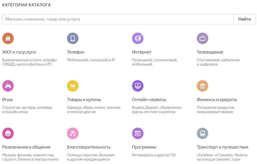 Категории каталога оплата услуг Яндекс Деньги